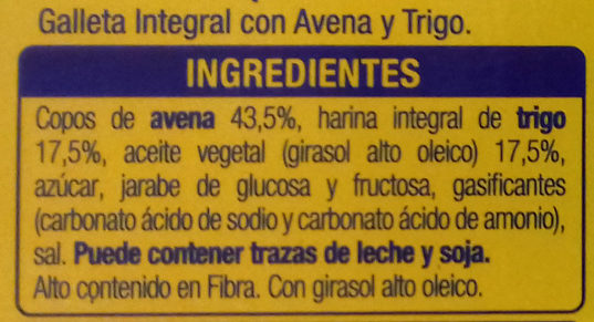 Digestive Avena - Ingredientes