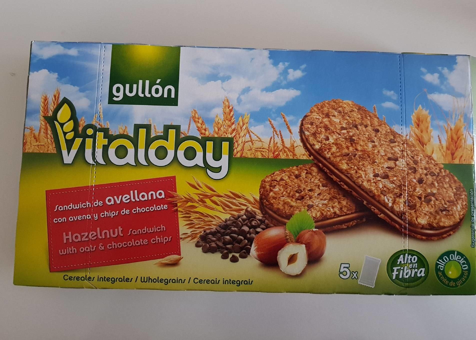 Sandwich de avellana con avena y chips de chocolate Vitalday - Produto