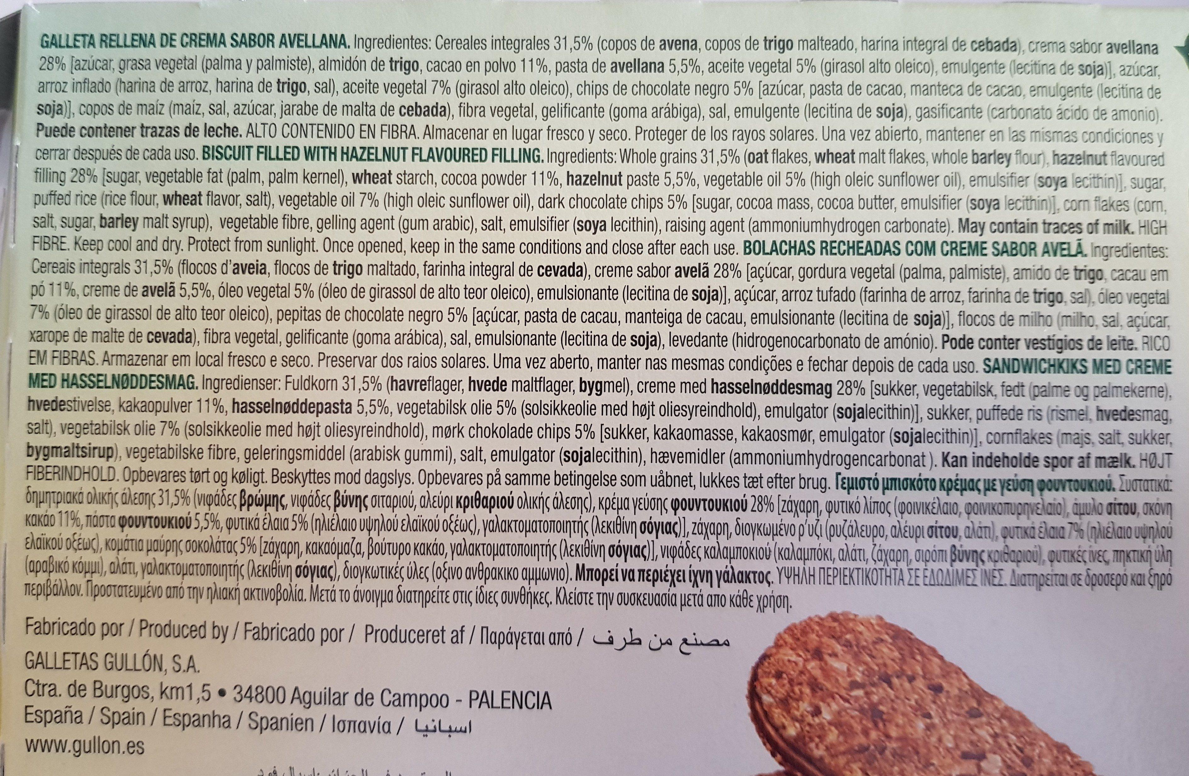 Sandwich de avellana con avena y chips de chocolate Vitalday - Ingredientes