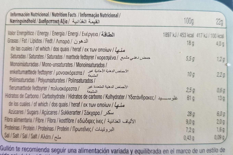 Sandwich de avellana con avena y chips de chocolate Vitalday - Informação nutricional