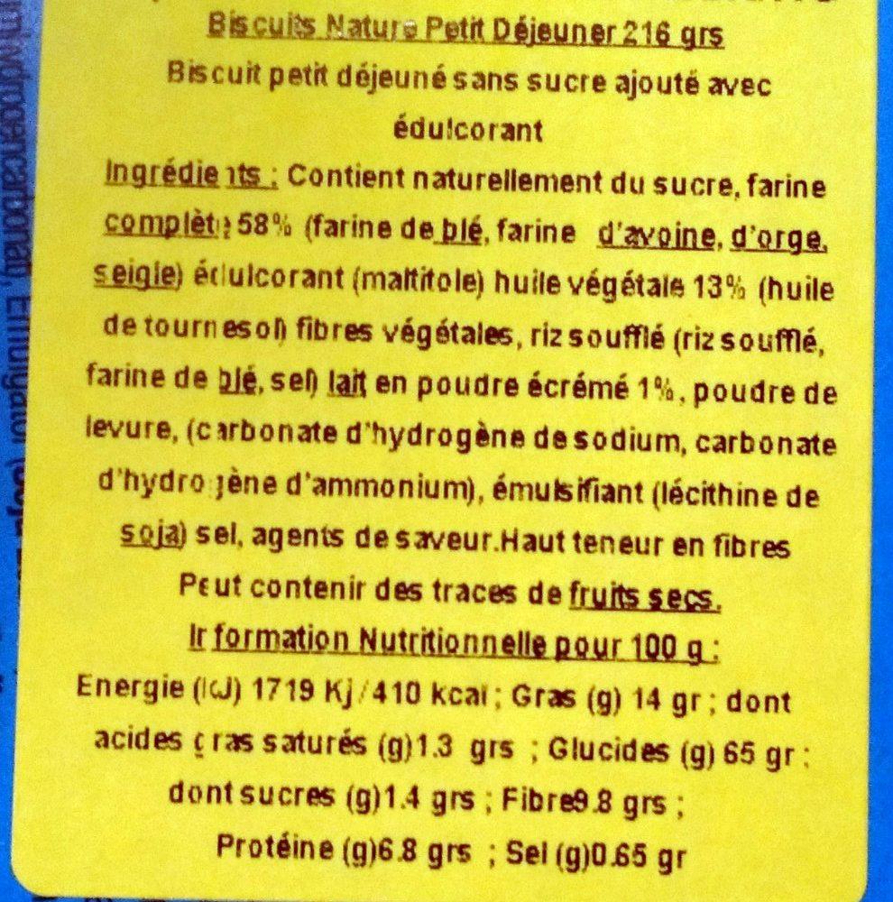 Biscuits Petit-Déjeuner Céréales Complètes Sans Sucre Ajouté - Ingredients