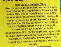 Biscuits Digestives au Chocolat Noir - Sans Sucre - Ingrediënten