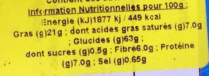 Biscuits Digestives au Chocolat Noir - Sans Sucre - Voedingswaarden