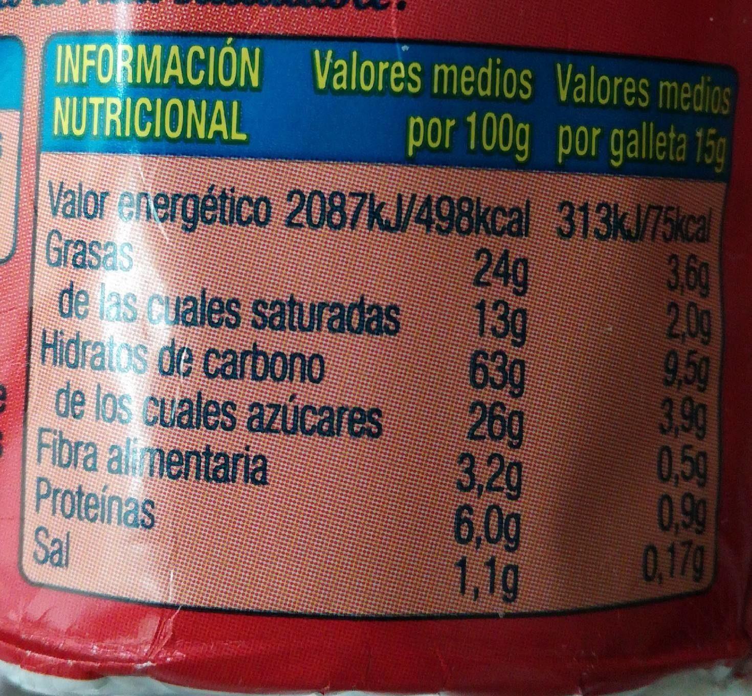 Digestive Chocolate Galletas con Leche - Información nutricional