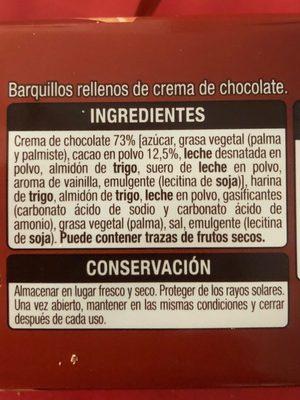 Barquillos rellenos de chocolate - Ingredientes - es