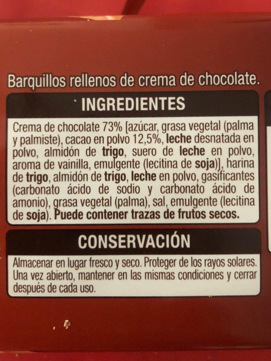 Barquillos rellenos de chocolate - Ingredients - es