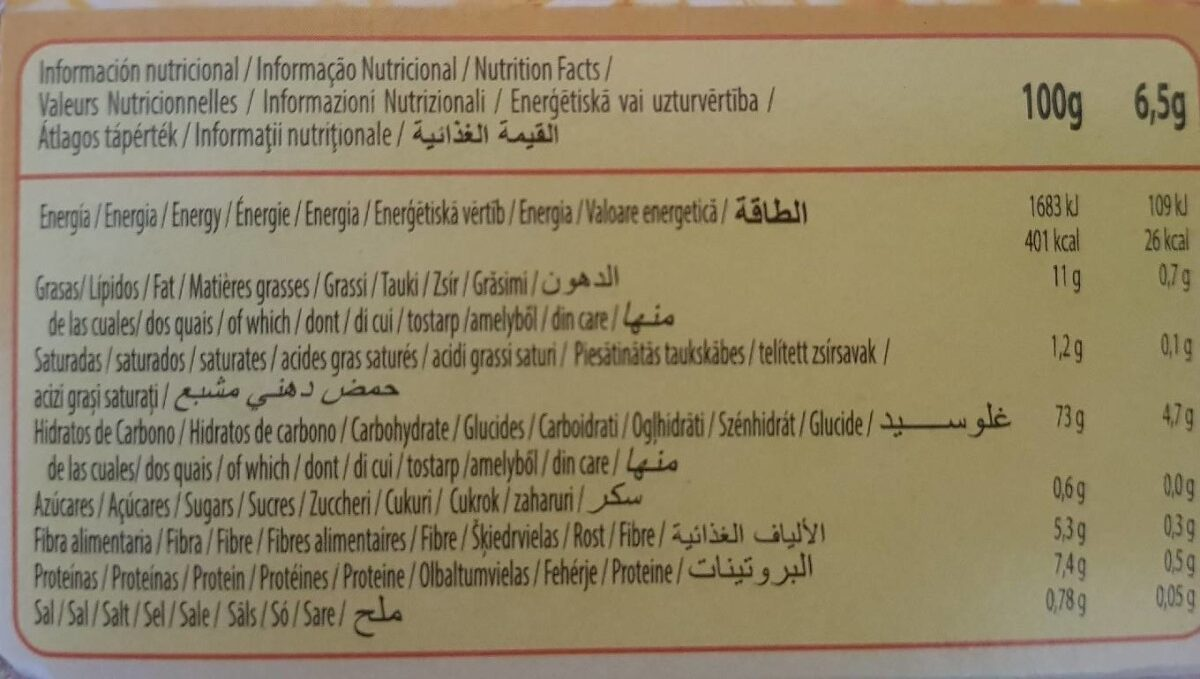 Galletas tostadas sin azúcares añadidos - Informació nutricional