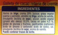 Galleta de Cacao Rellena de Crema - Ingredientes