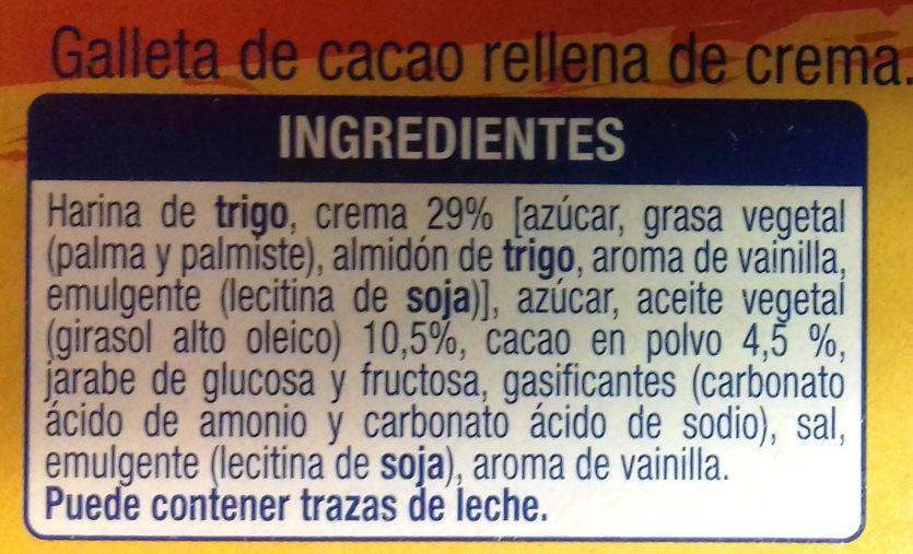 Galleta de Cacao Rellena de Crema - Ingredientes - es