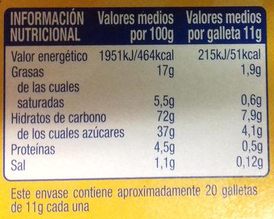 Galleta de Cacao Rellena de Crema - Información nutricional