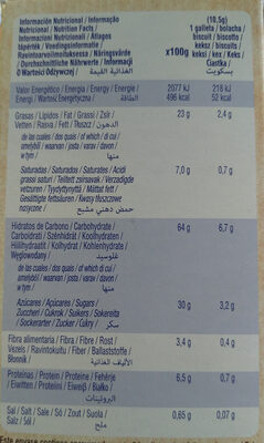 Choco Chips Bio Organic - Nutrition facts - es