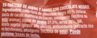 Vitalday avena arroz chocolate negro - Ingredientes - es