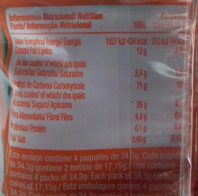 Vitalday chocolate negro y naranja - Informació nutricional - es