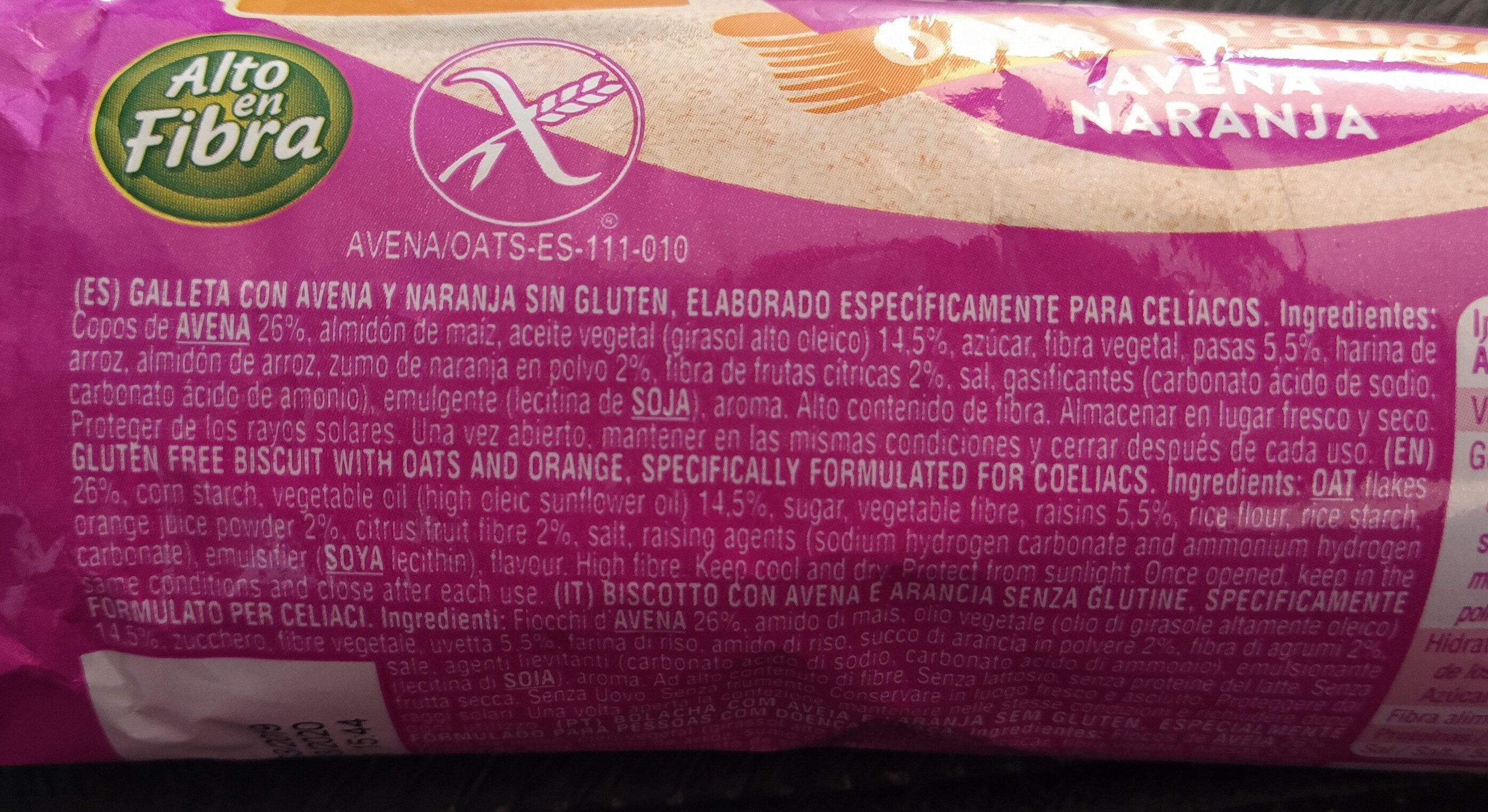 Galletas de Avena y Naranja Gluten Free - Ingredientes