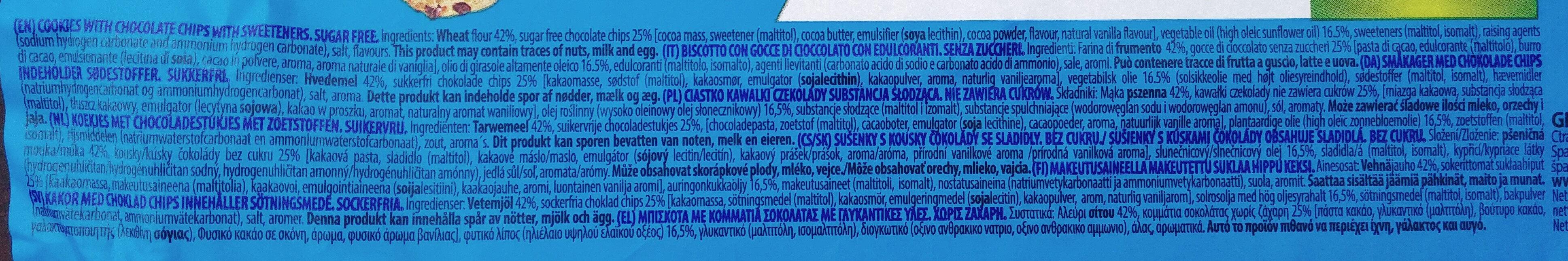 Sugar Free Choc Chip Cookies - Składniki - pl