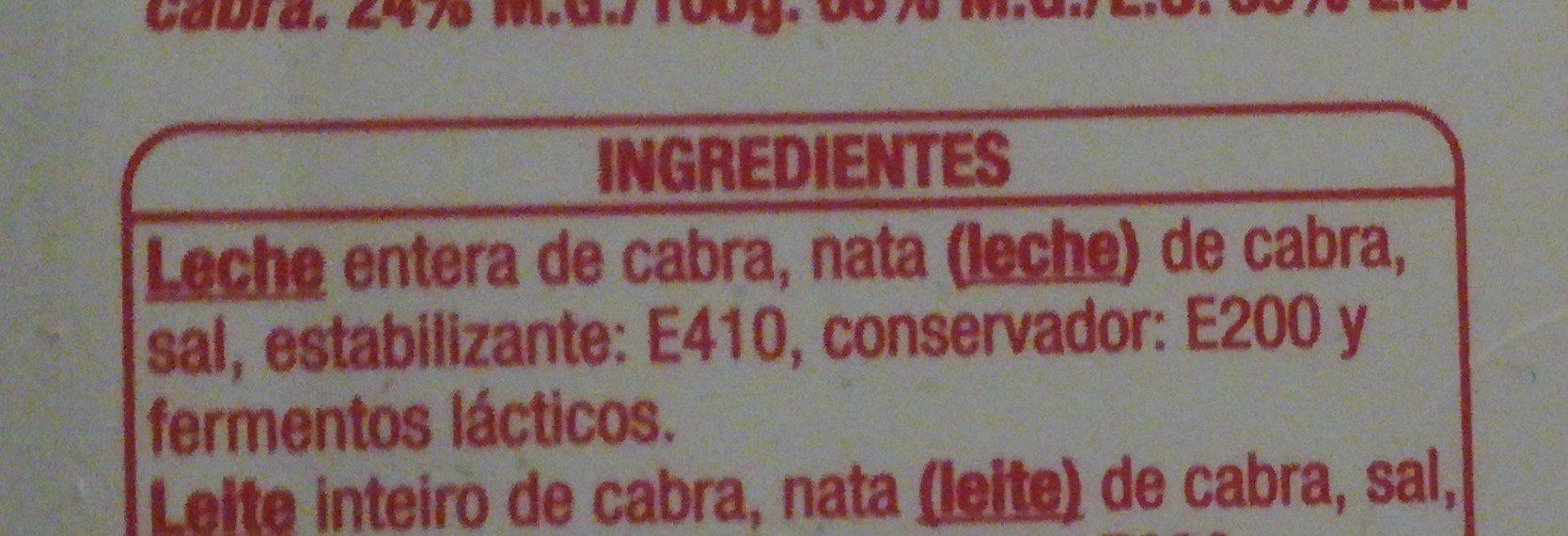 Fromage de chevre à tartiner - Ingredientes