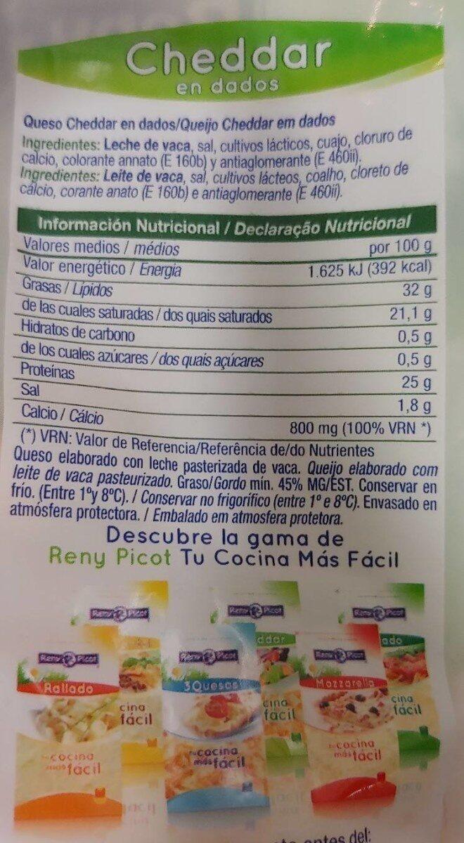 Cheddar en dados - Informació nutricional