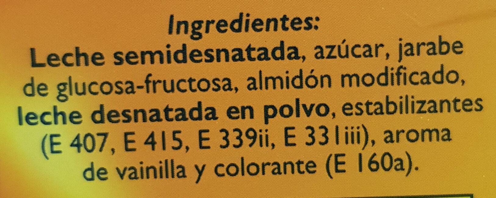 Natillas de vainilla - Ingredients - es