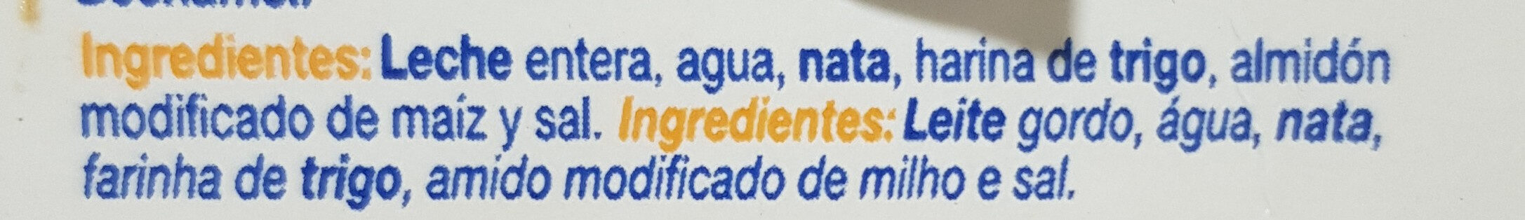 Bechamel - Ingredientes