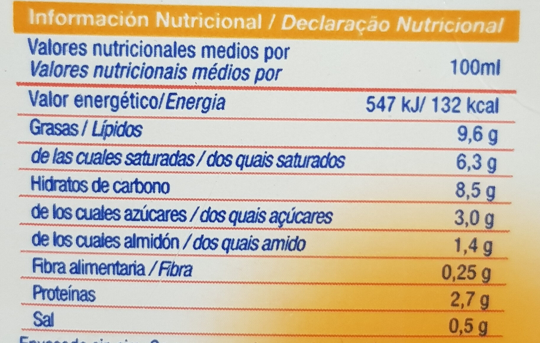 Bechamel - Información nutricional