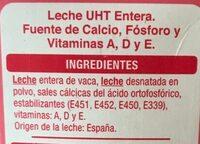 Leche UHT calcio entera - Ingredientes