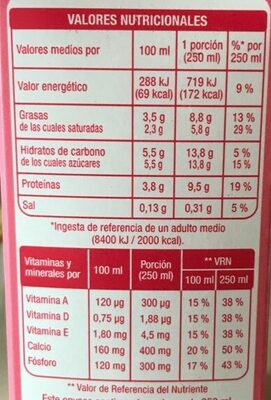 Leche UHT calcio entera - Información nutricional