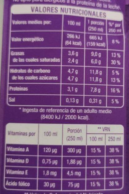 Leche sin lactosa entera - Información nutricional