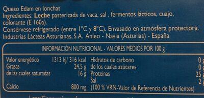 Queso Edam - Información nutricional