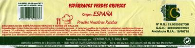 Esparragos verdes gruesos - Informació nutricional - es