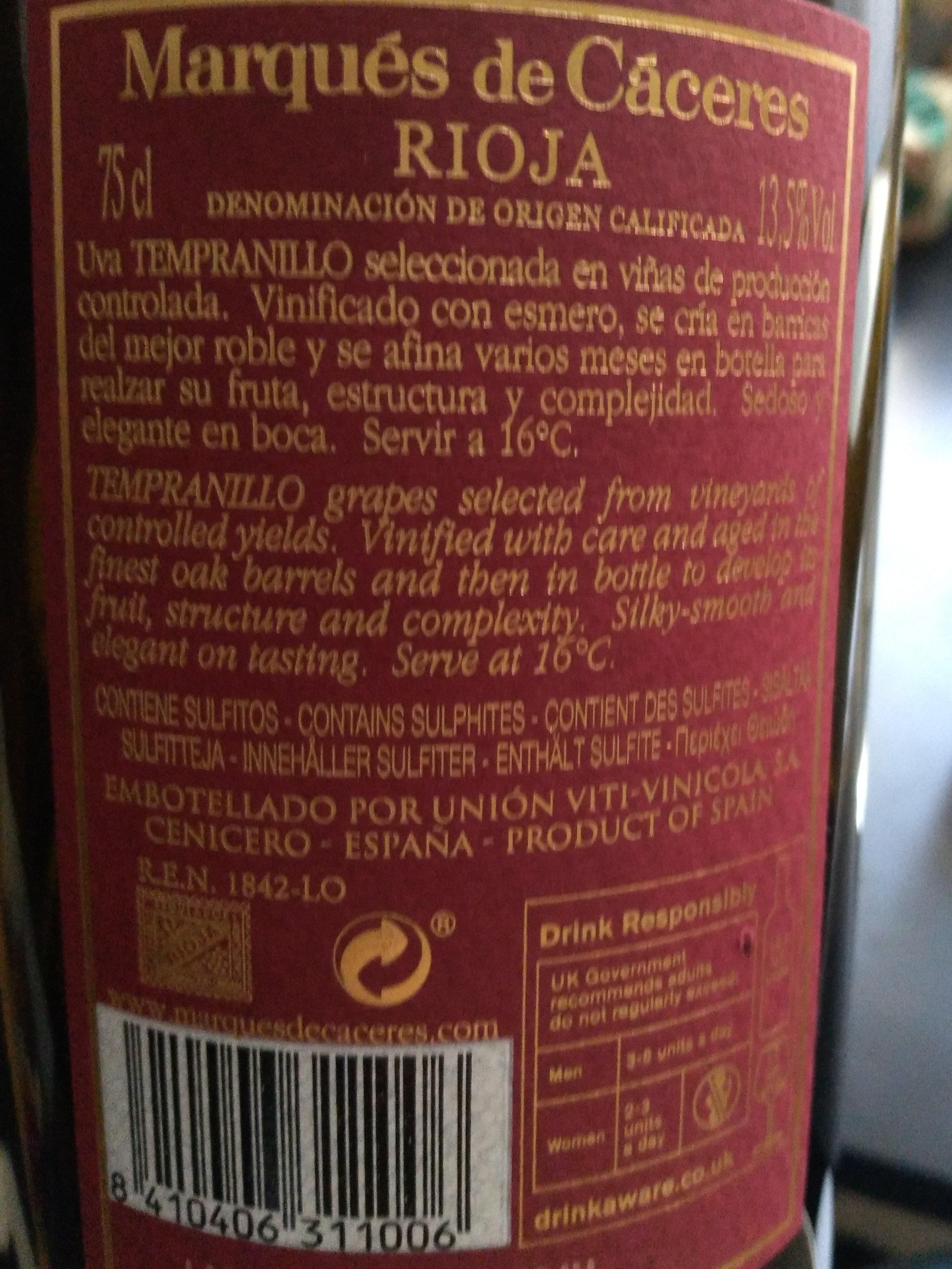 Espagne - Rioja, rouge - Ingredients - es