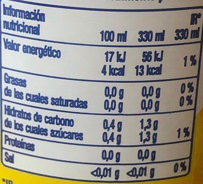 Kas Zero Limón - Informations nutritionnelles - fr