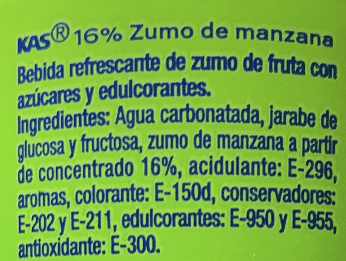 Kas Manzana - Ingredients - es