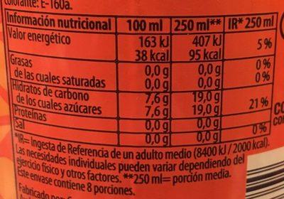 Refresco de naranja - Información nutricional