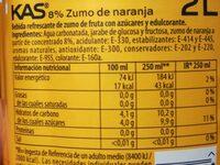 KAS Naranja - Información nutricional - es