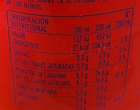 Bitter Kas - Información nutricional - es