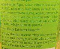 Refresco de té verde sabor a menta lima bajo calorías - Ingredients - fr