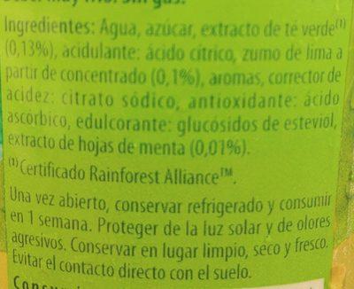 Refresco de té verde sabor a menta lima bajo calorías - Ingredients