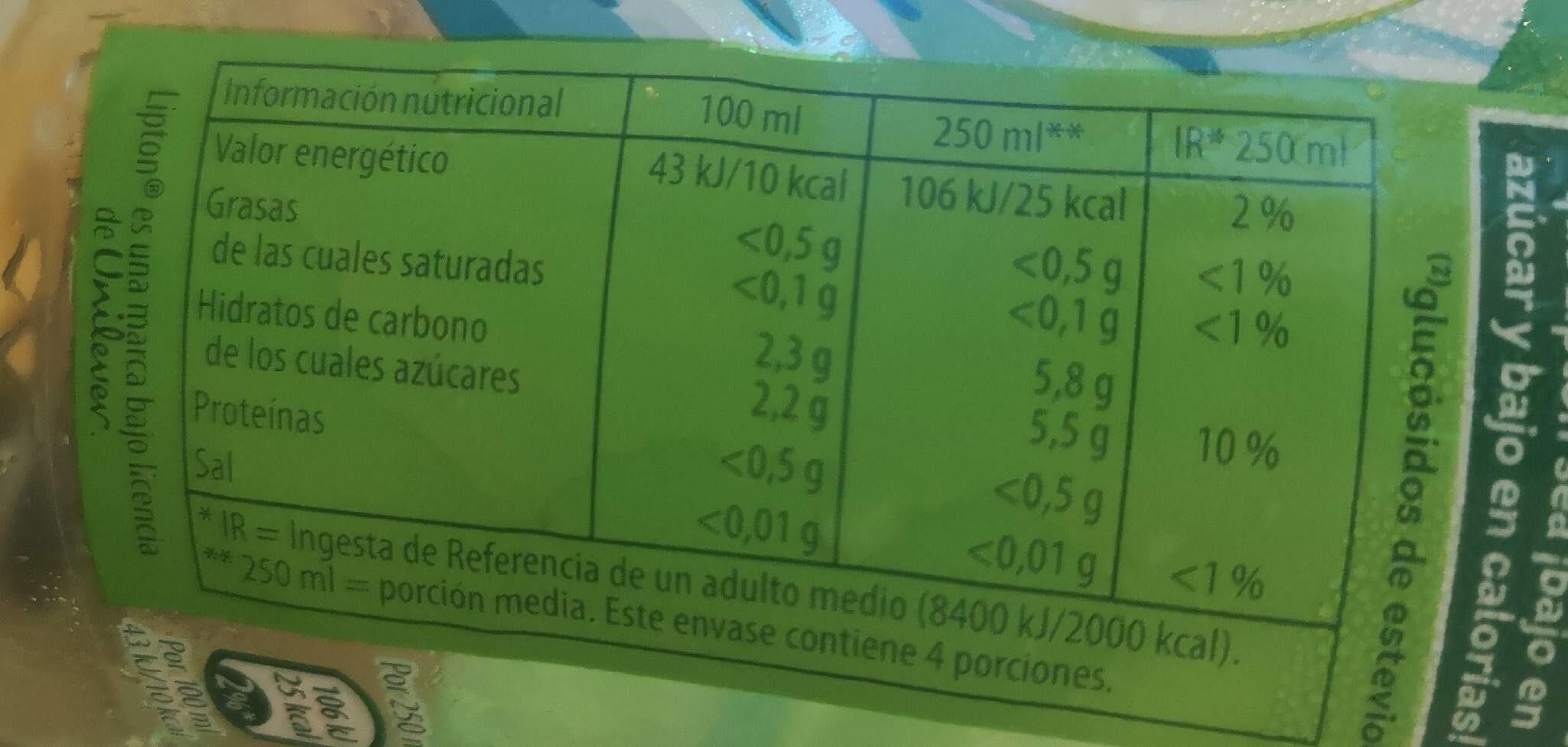 Refresco de té verde sabor a menta lima bajo calorías - Nutrition facts - fr
