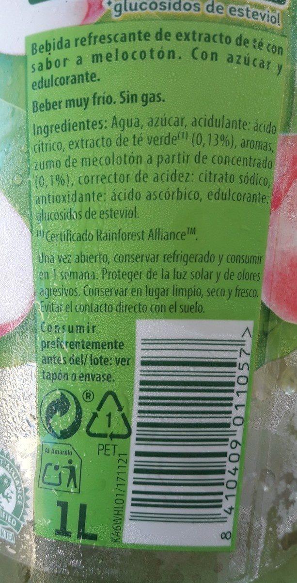 Refresco de té verde sabor melocotón blanco bajo calorías - Ingredients - fr