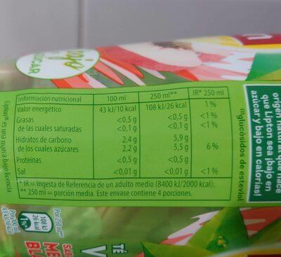Refresco de té verde sabor melocotón blanco bajo calorías - Nutrition facts - fr