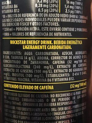 Rockstar Punched Energy - Ingredients - es