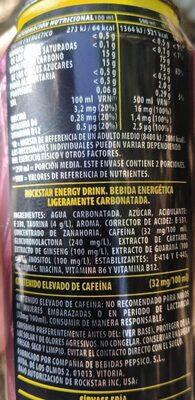 Rockstar Punched Energy - Informació nutricional - es