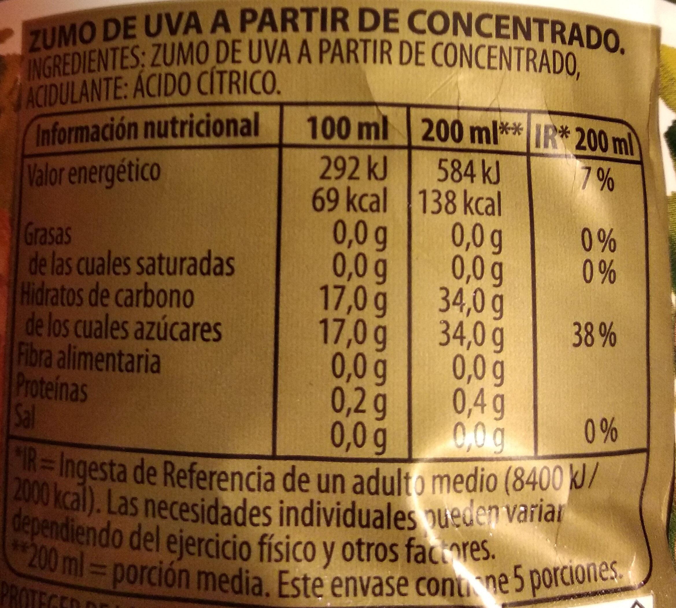 Zumo de uva a partir de concentrado - Valori nutrizionali - es