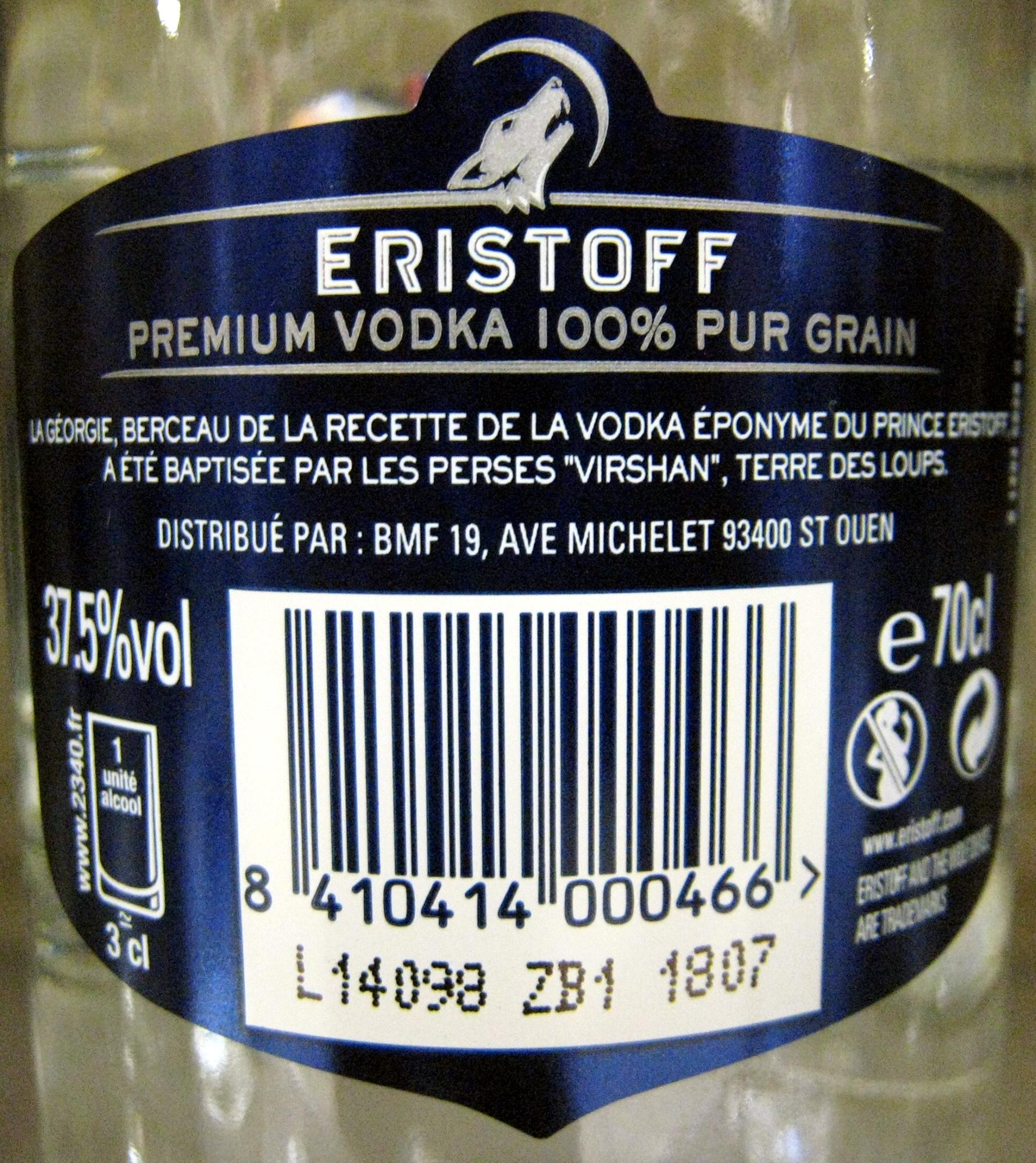 Vodka - Ingrédients - fr