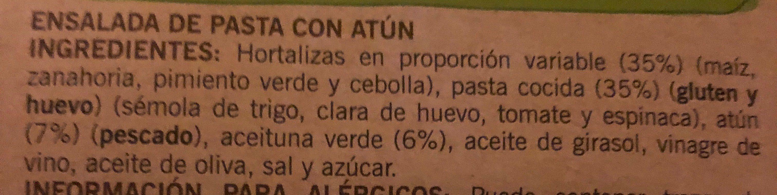 Ensalada de pasta con atún - Ingrediënten - fr
