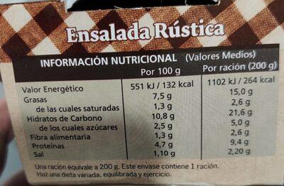 Ensalada Rústica - Voedingswaarden - es