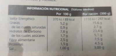 Judías verdes con patatas - Información nutricional - es