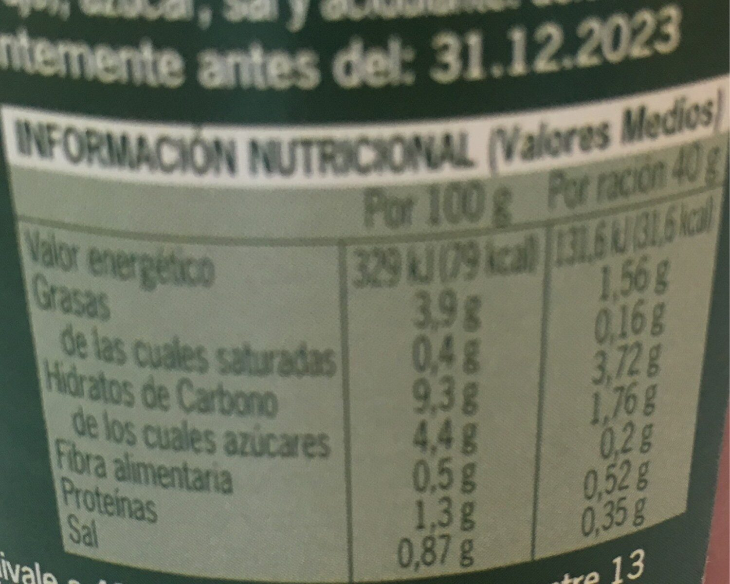 Tomate frito - Informations nutritionnelles