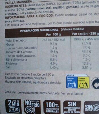 Paella marinera sin gluten - Nutrition facts - es