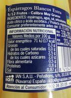 Espárragos blancos extra - Información nutricional - es
